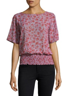MICHAEL MICHAEL KORS Short Sleeved Smocked Blouse