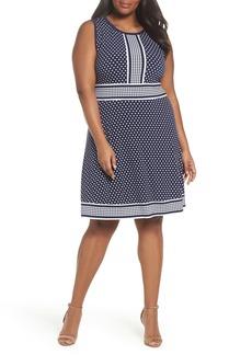 MICHAEL Michael Kors Simple Dot Border Dress (Plus Size)