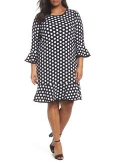 MICHAEL Michael Kors Simple Dot Flounce Dress (Plus Size)