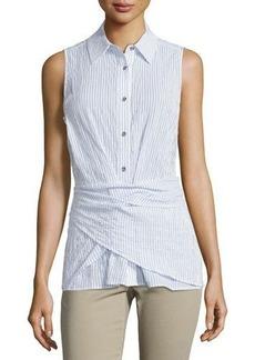 MICHAEL Michael Kors Sleeveless Button-Front Wrap Top