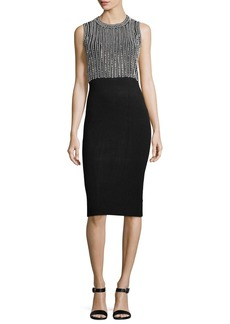 MICHAEL Michael Kors Sleeveless Embellished Sheath Midi Dress