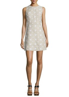 MICHAEL Michael Kors Sleeveless Floral-Embroidered Linen Dress