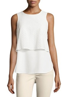 MICHAEL Michael Kors Sleeveless Layered Eyelet Overlay Top