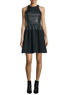 MICHAEL Michael Kors Sleeveless Leather Combo Fit & Flare Dress