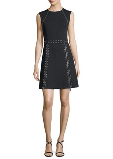 MICHAEL Michael Kors Sleeveless Pyramid Stud Zip-Trim Dress