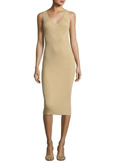 MICHAEL Michael Kors Sleeveless Ribbed Metallic Sweater Dress