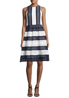 MICHAEL Michael Kors Sleeveless Striped Cotton Eyelet Dress