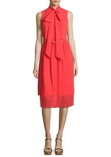 MICHAEL Michael Kors Sleeveless Tie-Neck Pleated Dress
