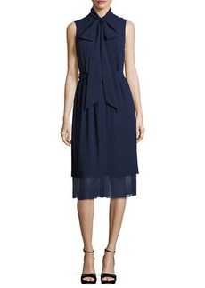 MICHAEL Michael Kors Sleeveless Tie-Neck Pleated Dress
