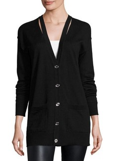 MICHAEL Michael Kors Slit V-Neck Button-Up Cardigan
