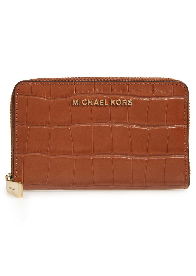 MICHAEL Michael Kors Small Jet Set Croc Embossed Leather Card Case