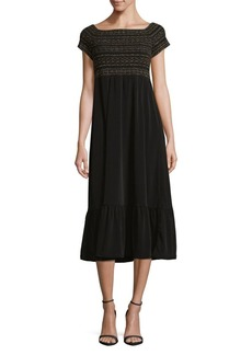 MICHAEL MICHAEL KORS Smocked Cap-Sleeve Midi Dress