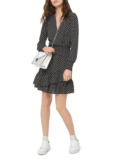 MICHAEL Michael Kors Smocked Ruffled Dot-Print Dress