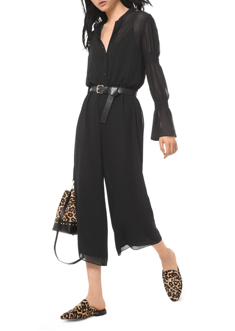 MICHAEL Michael Kors Smocked-Sleeve Georgette Jumpsuit