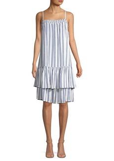 MICHAEL Michael Kors Smocked Stripe Tiered Drop-Waist Dress