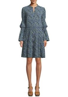MICHAEL Michael Kors Smocked-Waist Floral-Print Shirt Dress