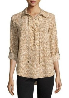 MICHAEL Michael Kors Snake-Print Lace-Up Tab-Sleeve Blouse