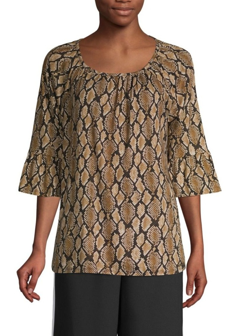 MICHAEL Michael Kors Snakeskin-Print Cotton-Blend Top