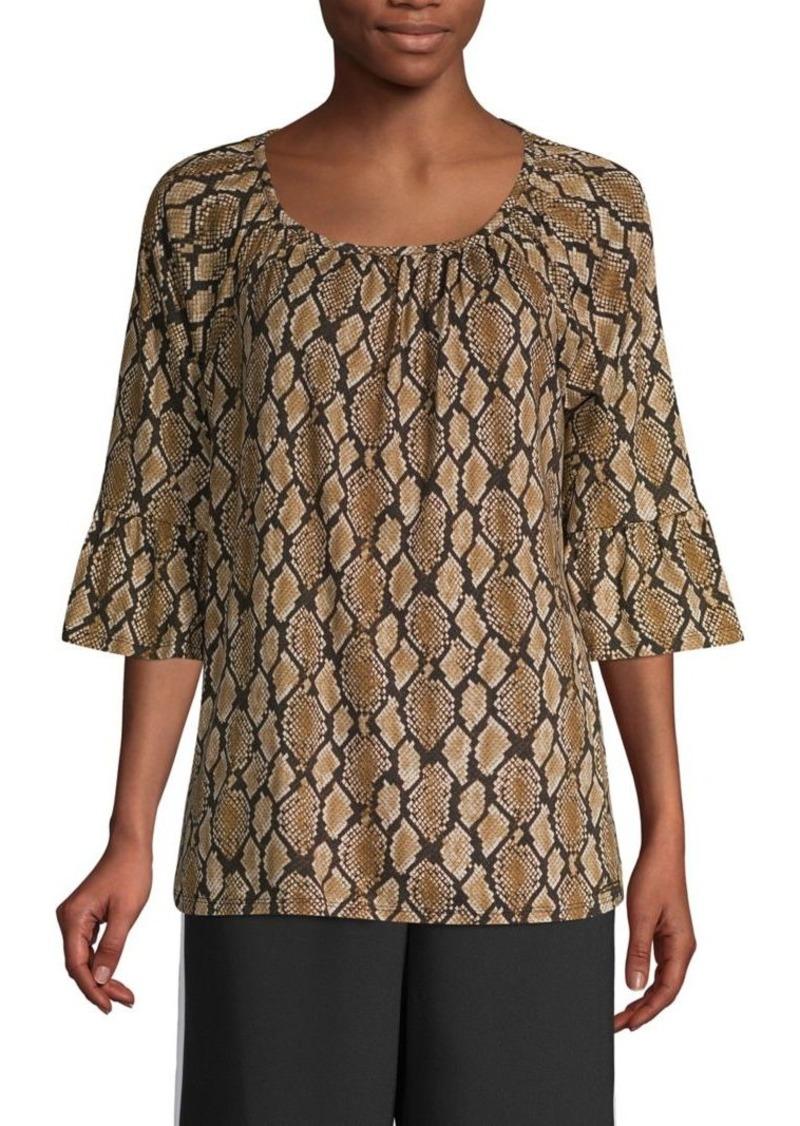 MICHAEL Michael Kors Snakeskin-Print Cotton-Blend Top