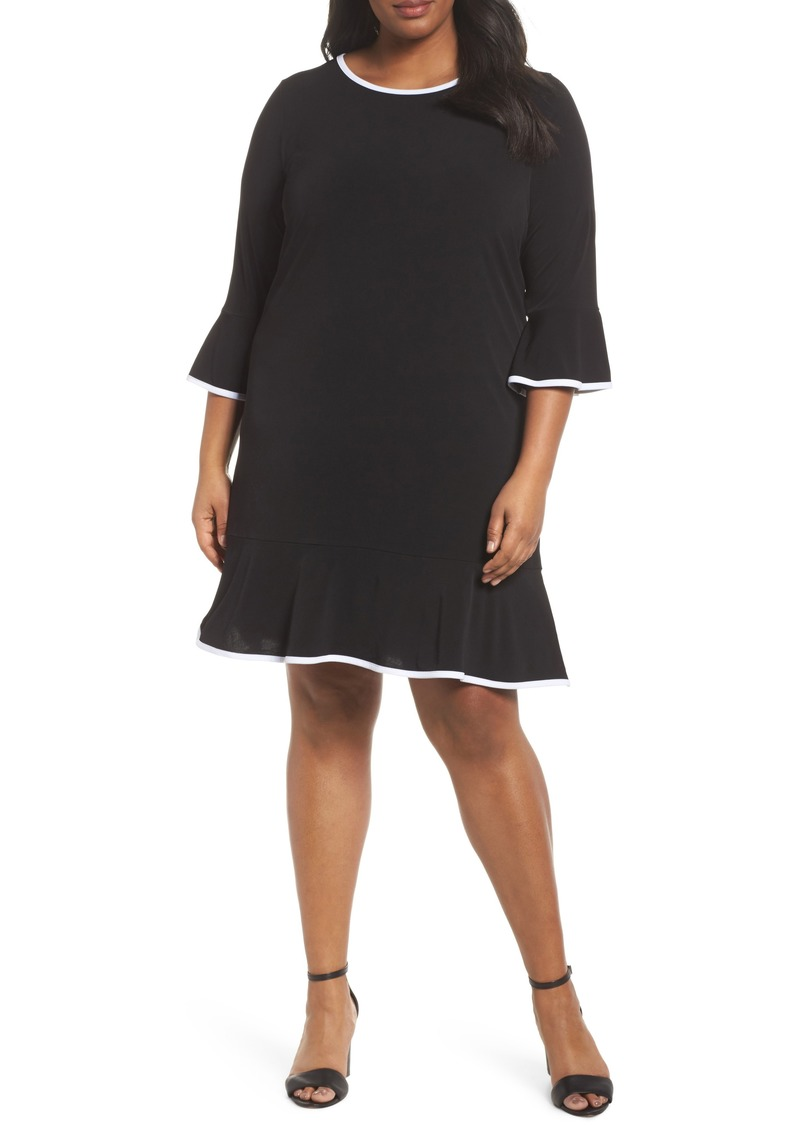 MICHAEL Michael Kors Solid Flounce Dress (Plus Size)