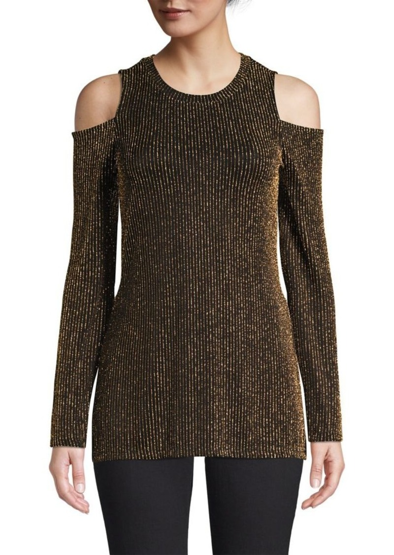 MICHAEL Michael Kors Sparkle Stripe Cold Shoulder Top