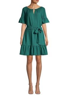 MICHAEL Michael Kors Split-Neck Tie-Front Dress