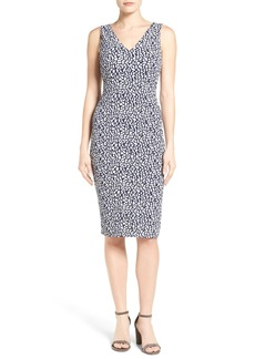 MICHAEL Michael Kors Spotted Jacquard V-Neck Sheath Dress