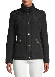 MICHAEL Michael Kors Stand-Collar Diamond-Quilt Coat