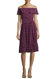 MICHAEL Michael Kors Star-Print Pleated-Trim Dress