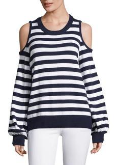 Stripe Cold-Shoulder Cotton Sweater