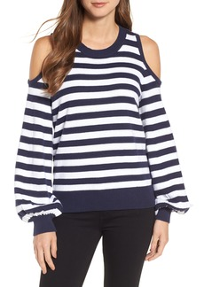 MICHAEL Michael Kors Stripe Cold Shoulder Sweater