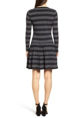 MICHAEL Michael Kors Stripe Dot Drop Waist Dress