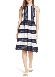 MICHAEL Michael Kors Stripe Eyelet Fit & Flare Dress