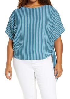 MICHAEL Michael Kors Stripe Side Tie Top (Plus Size)