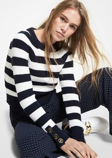 MICHAEL Michael Kors Striped Button Cuff Sweater