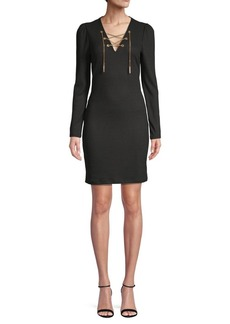 MICHAEL Michael Kors Striped Chain Long Sleeve Sheath Dress
