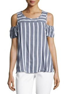 MICHAEL Michael Kors Striped Cold-Shoulder Boxy Top