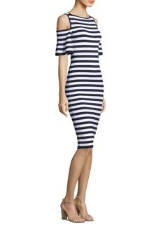 MICHAEL MICHAEL KORS Striped Cold-Shoulder Dress