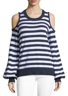 MICHAEL Michael Kors Striped Cold-Shoulder Sweater