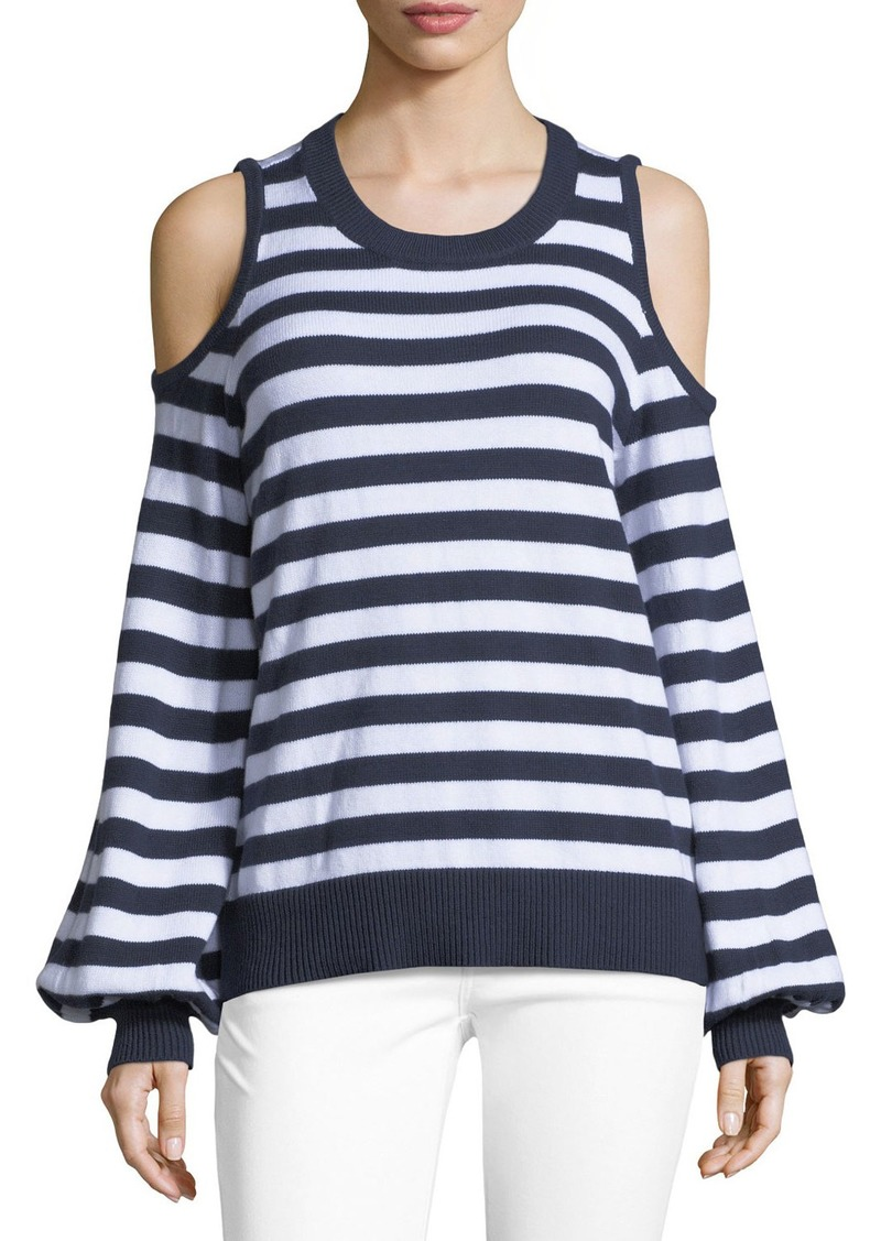 2af1910010c84 On Sale today! MICHAEL Michael Kors Striped Cold-Shoulder Sweater