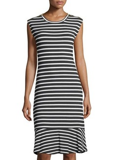 MICHAEL Michael Kors Striped Flounce-Hem Rib Dress