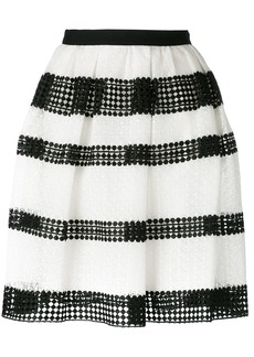 Michael Michael Kors striped lace pleated skirt - White