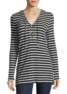 MICHAEL Michael Kors Striped Lace-Up Tunic