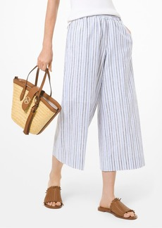 MICHAEL Michael Kors Striped Linen & Cotton Cropped Pants