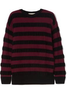 Striped merino wool-blend sweater