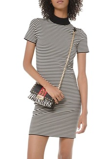 MICHAEL Michael Kors Striped Mock-Neck Mini Dress