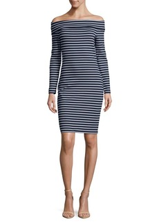 MICHAEL MICHAEL KORS Striped Off-The-Shoulder Dress