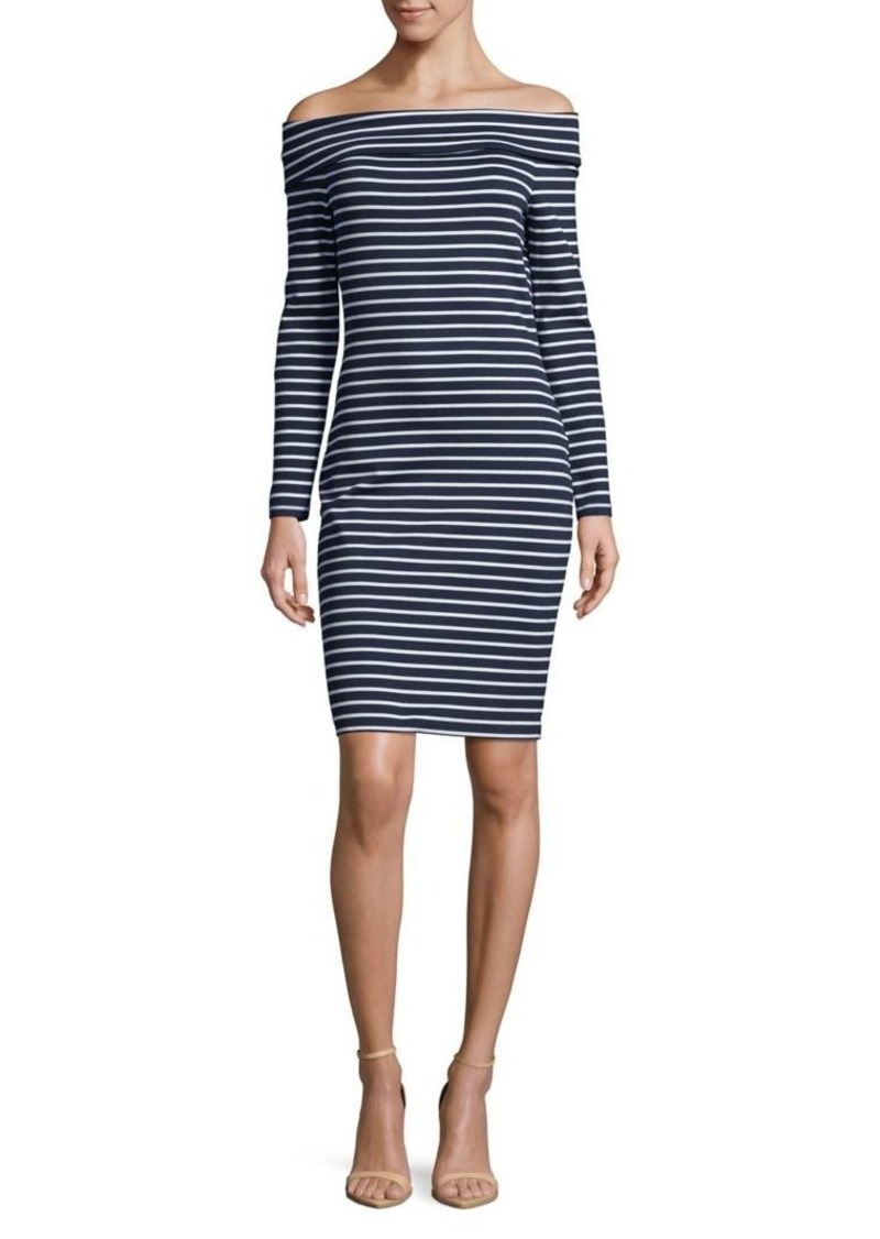 Michael Kors Striped Off The Shoulder Dress