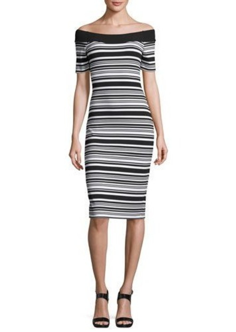 MICHAEL Michael Kors Striped Off-the-Shoulder Sheath Dress