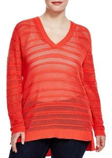 MICHAEL Michael Kors Striped Open Knit Sweater